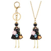 Wholesale Fashion Cute Dresses - Cute Flower Dress Doll Necklace Pendants Jewelry New Fashion Kids Pendant KeyChains Bag Charms Accessories For Women Christmas Gifts