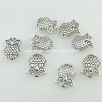 Wholesale Vintage Silver Owl Pendant - 16835 60PCS Alloy Antique Silver Vintage Mini Owl 10mm Spacer Beads Charm