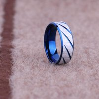 Wholesale titanium band ring blue - titanium wiredrawing stripe finger ring tail rings thumb ring for men women Gold blue black punk movie jewelry 080137