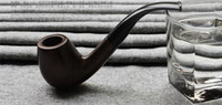 Wholesale Smoking Ebony Pipe - Ebony Wood Smoking Pipe Handmade Black Tobacco Pipe 9mm Filter Wooden Pipe cigarette pipe free shipping