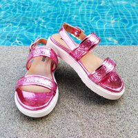 Wholesale Fedex Pink Silver - 2016 New Arrival Kids Sandal for Girls Shinning Glitter PU Leather Metal PU Leather Pink Silver Gold Free FedEx Shipping