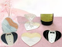 Wholesale Glass Coaster Wedding Decoration - 30pcs lot,Heart shape of Bride and groom Glass Coasters, wedding gift,wedding favors, party gift