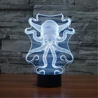 New USB Acrylic Watch The Seven Color Octopus Nightlight Quarto Escritório LED lâmpada de mesa Criança Ocean World Natal Gift-3D-TD158