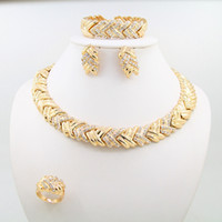 Wholesale Necklace Golden - 2016 new 18k gold plated alloy jewelry 4 sets diamond jewelry including necklaces bracelets earrings and rings