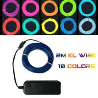 2M Flex flexible EL Wire Rope Tube Flexible Neon Light 10 couleurs Car Dance Party Costume + Controller Christmas Holiday Decor Light