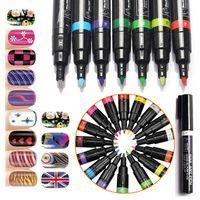 Wholesale Drawing Dotting Painting Pen - 16 Colors Nail Art Pen 3D DIY Nail Art Decoration Polish Painting Dot Drawing UV Gel Design Beauty Nail Art Tools 0603040