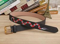 Wholesale Snake Waist Belt - 2017 New Hot Designer Famous Fashion Snake Pattern Women Men Belts Male Waist Strap Real Leather Pin Buckle Cowskin G Belt Black Green