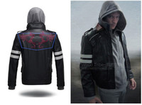 Wholesale Alex Mercer Prototype Jacket - TV Game Cosplay Costume PROTOTYPE Mercer Alex J Leather Jacket + Hoodie size M-4XL with Embroidery pattern Zeus Jacket Fans gift