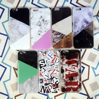 Wholesale Iphone Hybrid Pattern - For iPhone 6 6S Plus Hybrid Marble Pattern Soft TPU Phone Case Cover cracking Marmor IMD Cases Gel Grain For 6Plus 5 SE