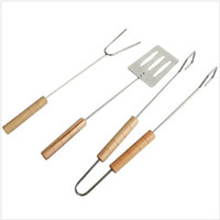 Wholesale Cleaning Suit - Barbecue Tools 3 Piece Suit Stainless Steel Tongs Skewer Roasting Clamp Fork Shovel Outdoor barbecue accessories KKA2340