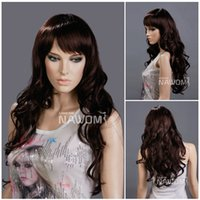 W3100 Dark Brown Long Wavy Women Wigs 22 inches Length Synthetic Curly Wigs para Feminino Kanekalon Material
