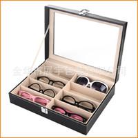 Wholesale Eyewear Tray - 8 Grid Eyewear Sunglasses Jewelry Watches Glasses Storage Display Case Box Organizer PU Leather Tray Organizer Holder Box