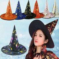 Wholesale Act Mixes - 36*38*20Cm Halloween Witches Hat Head Wear Hair Accessories The Witch Hat Magician Hats Acting Props Stars Pattern Mixed Color