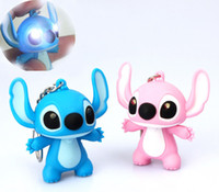 Wholesale Keychains Children Wholesale - cute Lilo & Stitch sound light keychains flashlight sound ring cartoon toys animation Stitch keychains child gift free Shipping