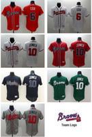 Wholesale Drop Shipping Shirts - 2016 Flexbase Authentic jerseys Atlanta braves 6 cox 10 Chipper Jones jersey Drop Shipping Top Quality Wholesale Cheap jerseys Shirts