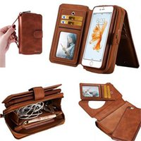 Pour iphone 6 6s Plus Retro détachables Multifunction Wallet Leather Cover Téléphone Shell avec carte Slots Gel Inside Pouch Zipper Purse Bag