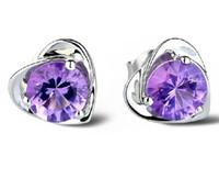 Wholesale Cheap Heart Shaped Earrings - 100 pcs Free shipping fashion jewelry earrings for women cheap stud earring 925 sterling silver cute female heart-shaped ear rings dangler