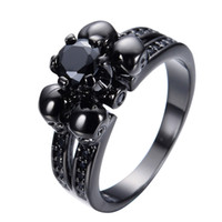 Halloween-Party-Vintage Black Sapphire Schädel Schmuck Damen / Herren Ring Anel Aneis Band-Schwarz-Gold füllte Hochzeits-Geschenk-Ringe RB0190