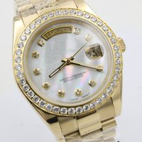 Wholesale Glass Shell - New Luxury Brand Mens Watch DAY DATE Diamond Bezel Shell Dial Automatic Movement Mechanical Sapphire Glass Gold Stainless Steel Men Watches