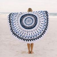 Wholesale print circle - Large Microfiber Printed Round Beach Towels With Tassel Circle Beach Towel Serviette De Plage