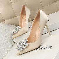 Wholesale Nude Diamond Shoes - 2016 new spring shoes high heels shoes fine documentary shallow mouth Diamond Satin nude bride wedding shoes shoes