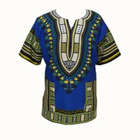Wholesale Top Traditional Women - Traditional African Clothing for Women Shirt Dress Mens Bazin Riche Orange Dashiki Tops Plus Size Summer Print Blouse