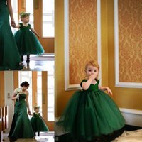 Wholesale Girls Emerald Dresses - Lovely Little Baby flower Girls Dresses for Weddings Emerald Green Cap Sleeves Tea Length Layered Ball Gown First Communion Dress
