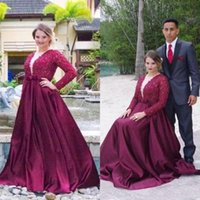 2016 Grape Violet Plus Size Robes de bal Plongeant Neck manches longues Soirée Parti Robes Perles Perles Dentelle Top Floor Longueur Party Formal Wear