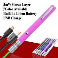 Wholesale Green Laser Pointer Pen Usb - Cheap 532nm green laser Pointer pen Built-in Lithium battery USB charger Lazer pointers USB cable charge high quality 5pcs lot free shipping