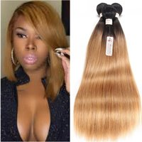 Wholesale Two Full Heads Extensions - Brazilian Straight Human Hair Weaves Ombre T1b 27 Honey Blonde Two Tone Color Full Head 3pcs lot Double Wefts Remy Hair Extensions