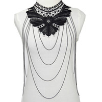 Wholesale Gothic Collar Lace - Bow Body Chain Women Statement Necklaces 2016 Vintage Lace Body Jewelry Collar Choker Necklace Gothic Accessories 92