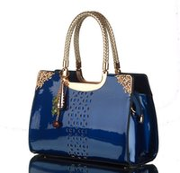 Wholesale Handbag Tote Korea - 2016 new patent leather hollow beads adornment big-name fashion lady bags South Korea one shoulder aslant handbag