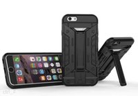 Wholesale Military Duty Hybrid Iphone - Military Hybrid future armor Heavy Duty Defender Case With card slot Kickstand for iphone 6 6S PLUS 5S SE Stand case