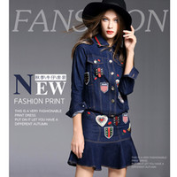 Wholesale Long Pattern Skirts - The new arrival autumn new blue bee loose stitching big yard loose code jacket +A word waist denim short skirt suit dress girl size S M L XL