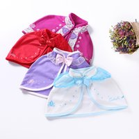 Wholesale Chinese Dress Cosplay - Girls Autumn Short Poncho Kids Cloak Chinese Style Bow Cappa Matching for Princess Dress Cosplay Costumes