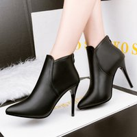 Wholesale Cheap Sexy Leather Boots - Cheap price sexy black leather winter martin boots thin heel pointed toe women boots warm ankle boots 3 colors 240-1
