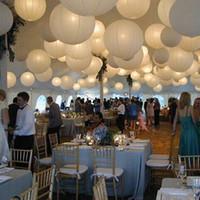 düğün dekorasyon kağıt topları toptan satış-10 adet 16 Inç 40 cm Beyaz Kağıt Fenerler Çin Kağıt Topu Düğün Parti Olay Doğum Günü Töreni Için Led Lampion dekorasyon