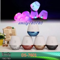 Wholesale Ds Flash Cards - Colourful LED Night Lamp Light Flash DS-7601 Wireless Bluetooth Outdoor Speakers Subwoofers Mini speaker support TF card FM radio