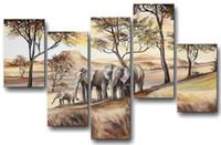 afrikanische kunst ölfarbe großhandel-100% handgemaltes Modernes Ölgemälde auf Leinwand Afrikanischer Elefant Amouröse Gefühle an der Wand Kunst für den Haushalt
