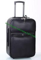 Wholesale Brown Leather Luggage - Top Grade Black Real Leather Rolling Luggage Fashion Designer DarwBar Travel Suitcase Pilot Case N23206 M23205