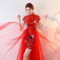 trajes china venda por atacado-Novo estilo da china feminino bordado cheongsams jantar de casamento vestido completo palco palco trajes partido formal da passarela um pedaço vestido show de roupas