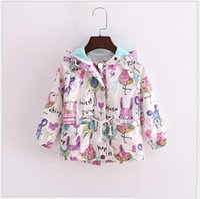 Wholesale Cute Toddler Girl Coats - 2016 New Autumn Cute Baby Girl Coat Animals Printing Cartoon Graffiti Hooded Zipper Girls Jacket Long Sleeve Toddler Girl Outwear 5pcs lot