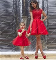 Wholesale Cute Little Girl Dressed Sexy - Hollow Short Lace Applique Tulle Ball Gown Short Sleeves Red Can Be Custom Made For Little Girl Cocktail Dresses Cute Beautiful
