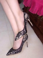 Wholesale Hot High Heels For Prom - New Hot Rhinestone Wedding Shoes Sexy Black Lace Heels Bridal Dress for Woman Prom Party Lolita Shoes High Heel Fashion Designer Shoes
