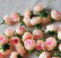 Wholesale Blue Rose Camellias - 100pcs Artificial Silk Simulation Single Rose Camellia Peony Flower Head Wedding Christmas Party 3cm Diy Jewlery