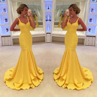Wholesale Simple Strapped Prom Dress - 2017 Simple Sexy Yellow Mermaid Prom Dress Spaghetti-Straps Tiered Floor Length Trumper Backless Formal Evening Wear
