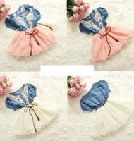 Wholesale Knee Length Sleeveless Denim Dress - INS Girls Lace Denim Tutu Flower Dress With Belt Short Sleeve Baby Kid's Princess Blue denim Dress