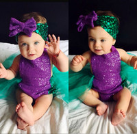 Wholesale Sequin Swim - HOT sale girl's suit swimming Baby Girls Sequin Bodysuit Mermaid Tulle Romper fashion Jumpsuit & hair band girl cute Sunsuit Outfits 6-24M