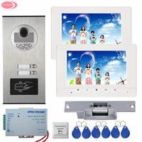 7 '' LCD Video Door Phone Intercom System 2 Monitores + RFID Access Door Camera para 2 Apartment Strike Electric Lock System Unit