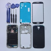 Wholesale S4 Full Case - Full Housing Cover For Samsung Galaxy S4 I9500 I9505 I337 Front Frame +Middle Frame +Back Case +Front Outer Glass +Sticker +Tools